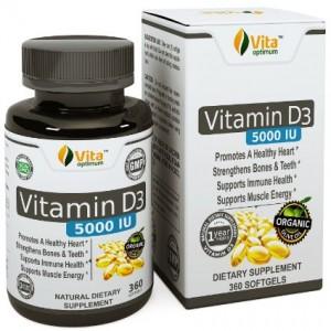 Vitamin D3 5000 IU Pills by Vita Optimum - Best Natural Organic Olive Oil