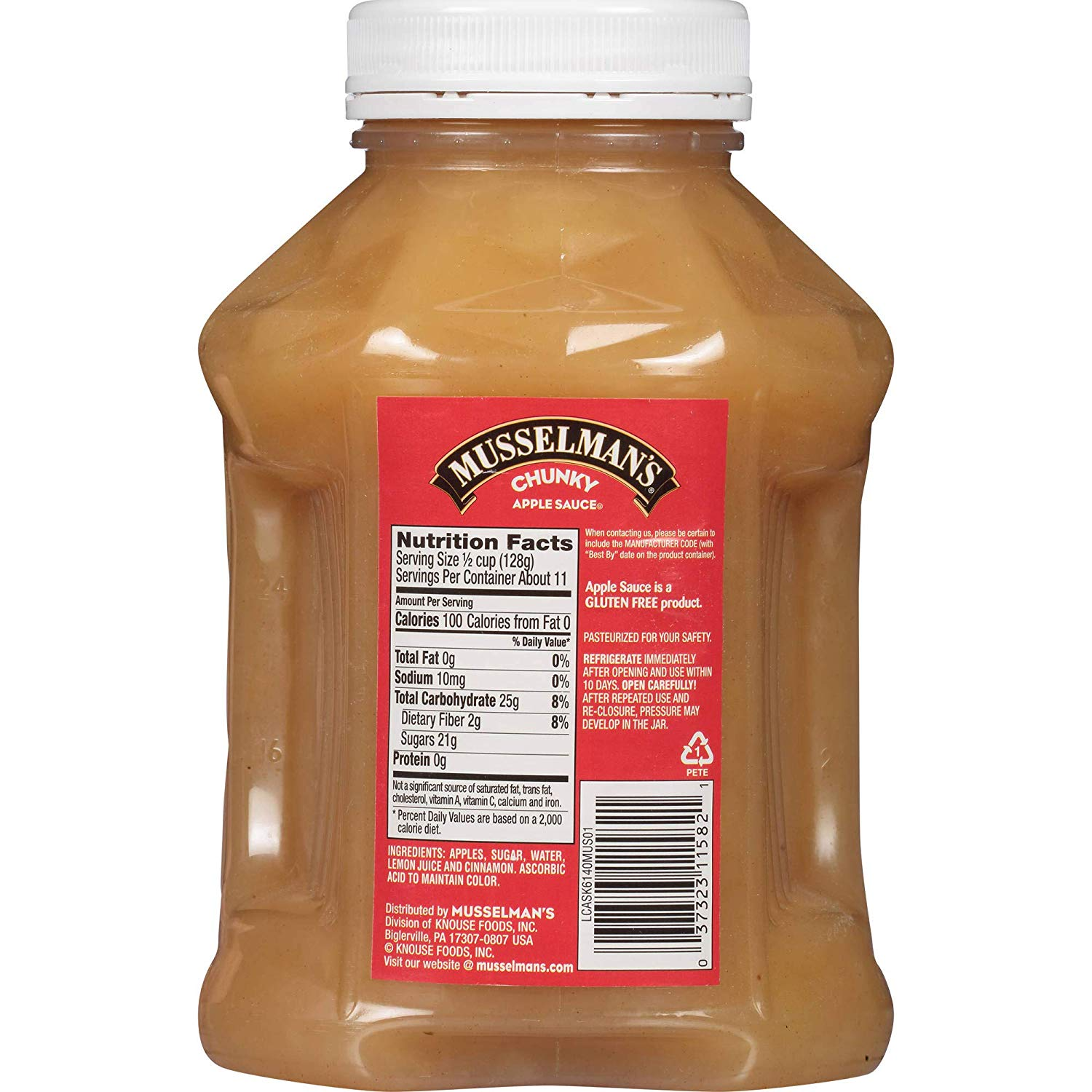 Chunky Fat Free Apple Sauce label