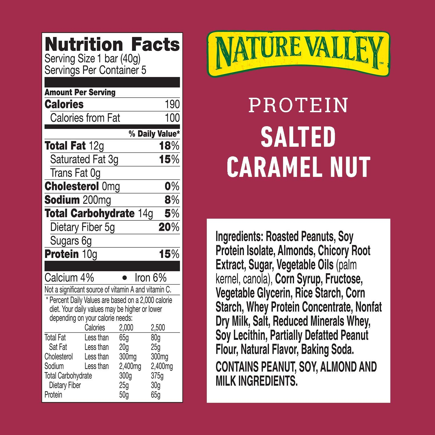 Nature Valley Protein Chewy Bars per serving