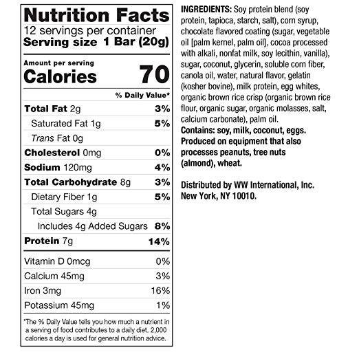 WW Chocolate Protein Stix facts