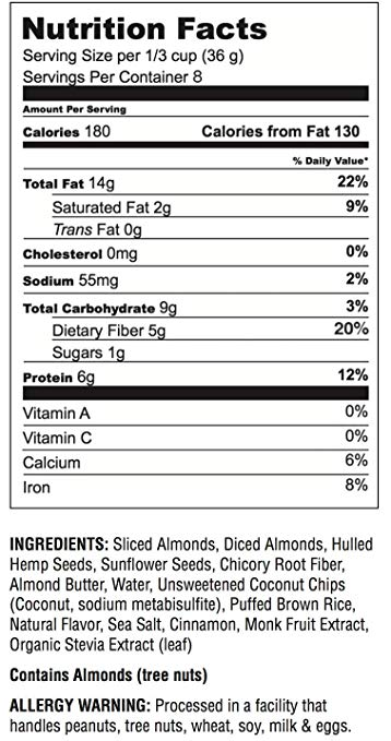 Almond Butter Granola Cereal nutrition facts
