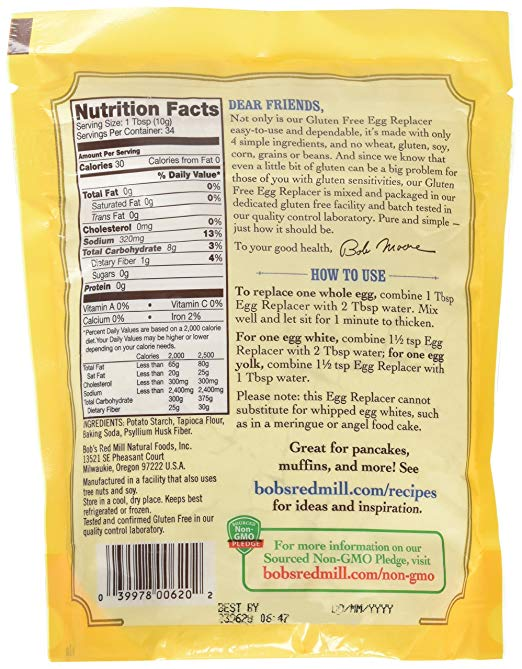 Bobs Red Mill Egg Replacer nutrition facts