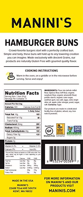 Buns nutrition facts