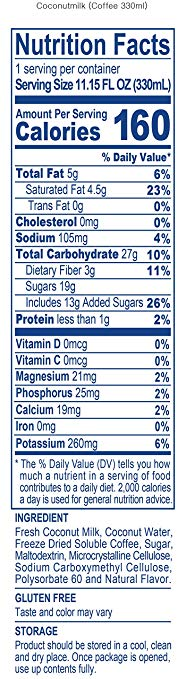 Coconut Milk Coffee nutrition facts