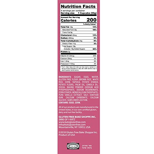 Cup Cakes nutrition facts