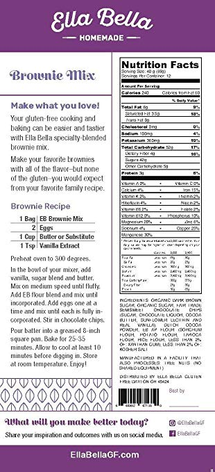 Delectable Brownie Mix Gluten Free backside packing