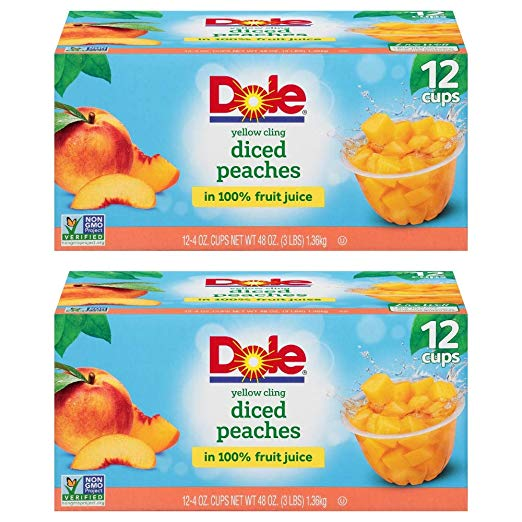 Dole Fruit Bowls Diced Peaches in 100% Fruit Juice one