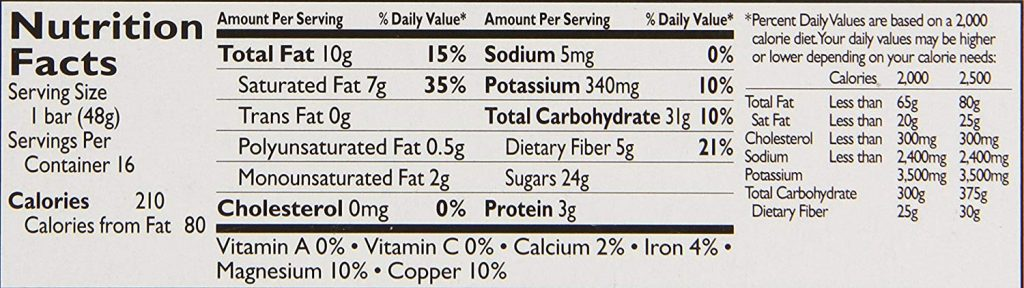 Fruit & Nut Bar nutrition facts