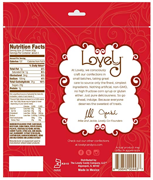 GLUTEN-FREE Cherry Licorice nutrition facts