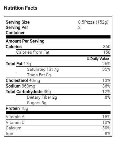 Gluten Free Cheese Pizza nutrition facts
