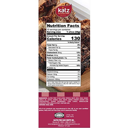 Gluten Free Marble Loaf nutrition facts