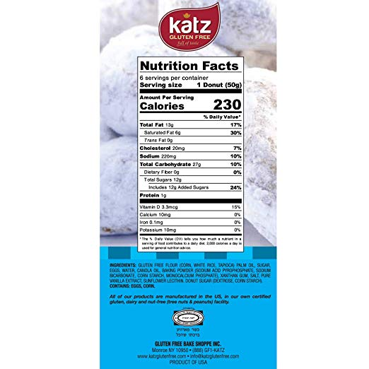 Gluten Free Powered Donuts nutrients
