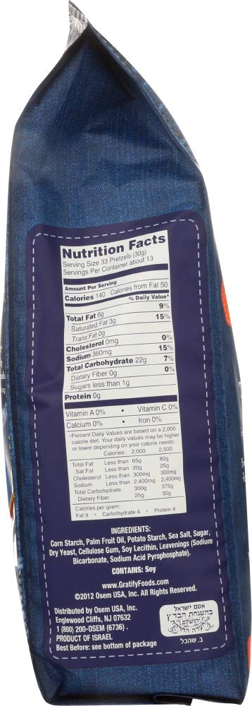 Gluten Free Pretzels Sea Salt Sticks nutrition facts