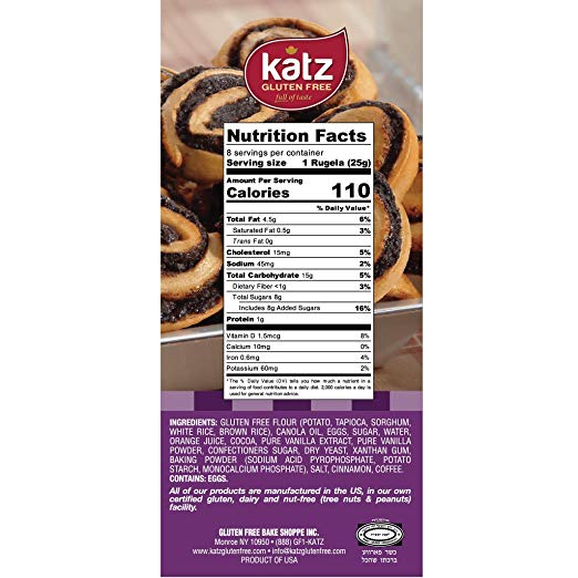 Gluten Free Rugelech nutrition facts