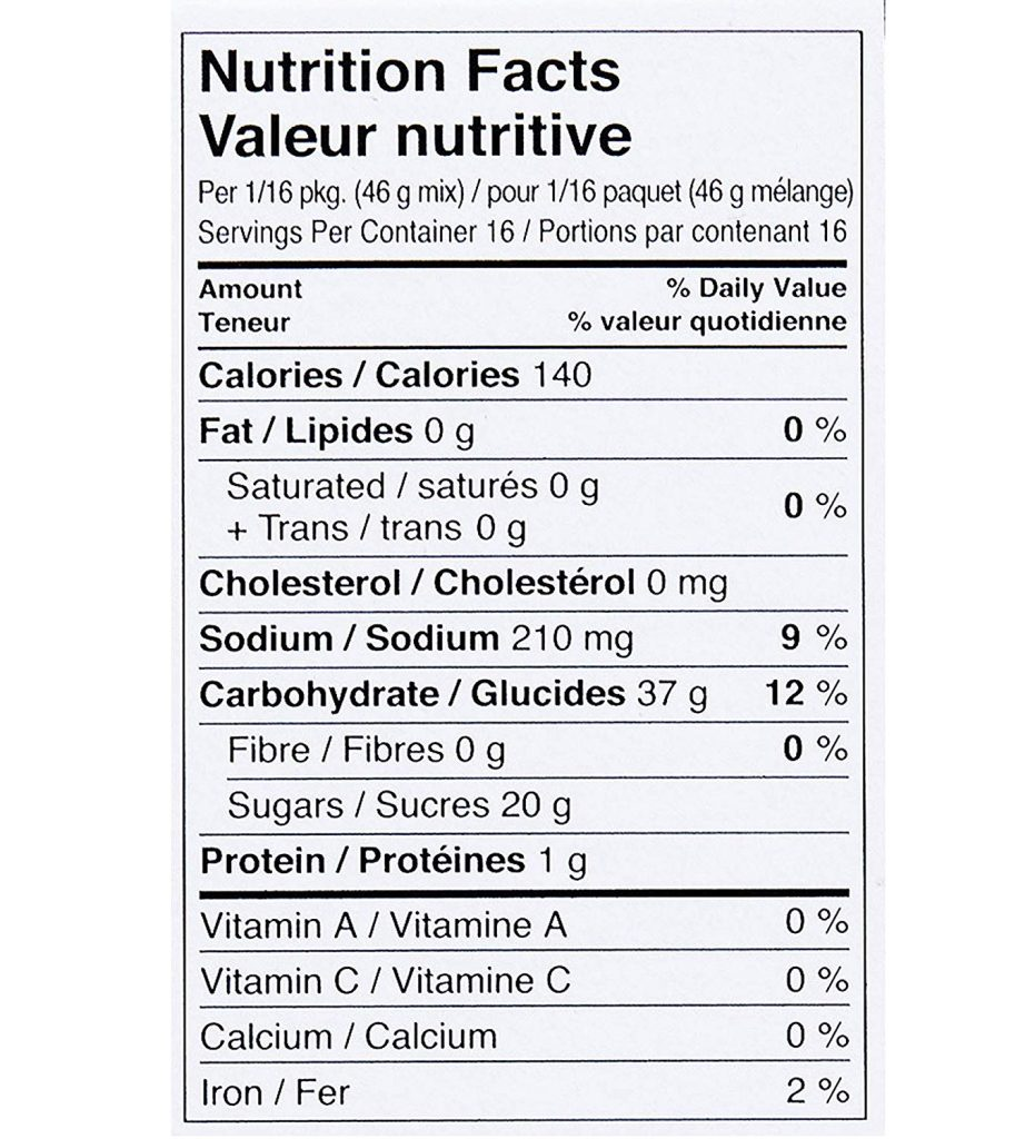 Gluten Free Spice Cake Mix nutrition facts