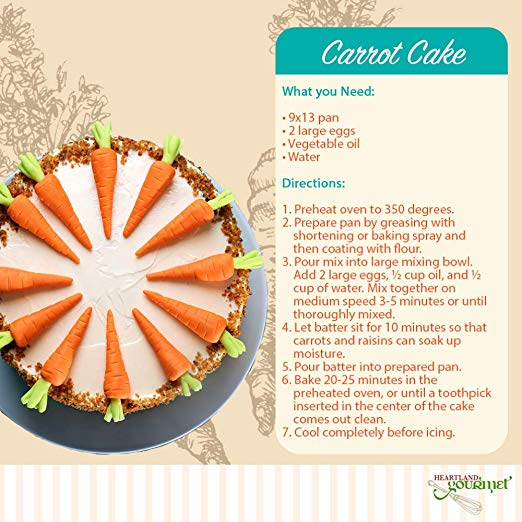 Gourmet Carrot Cake Mix directions