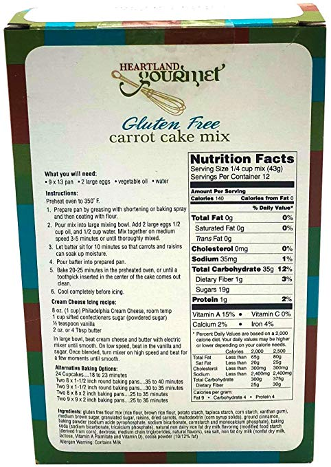 Gourmet Carrot Cake Mix ingredients