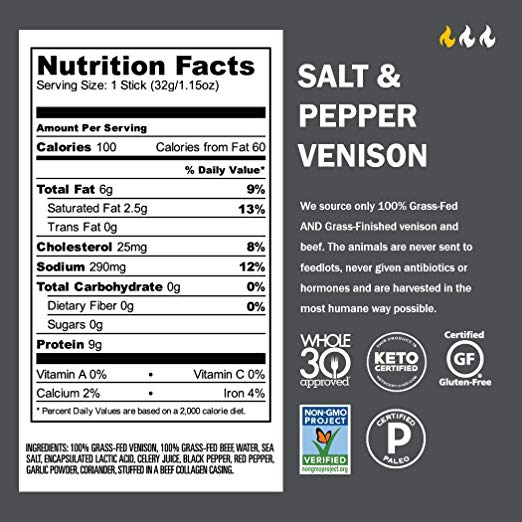 Jerky Snack Sticks nutrition facts