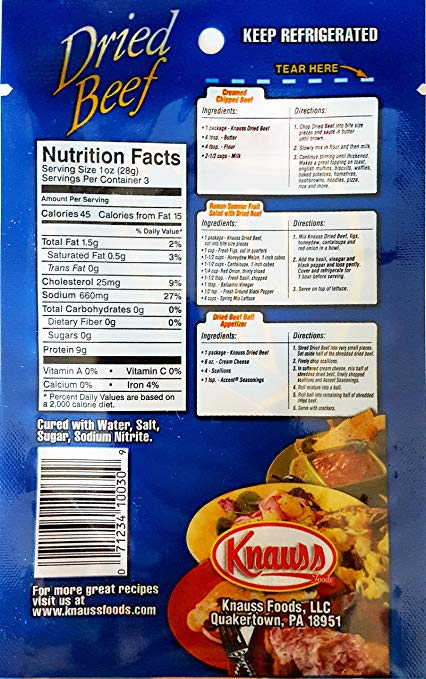 Knauss Dried Beef nutrition ingredients
