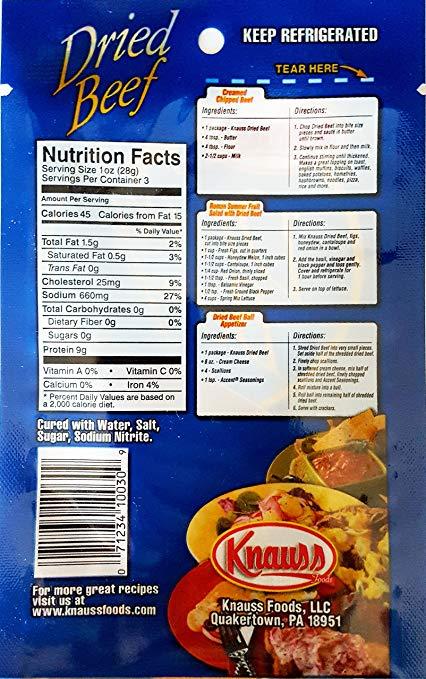 Knauss Dried Beef nutrition ingredients