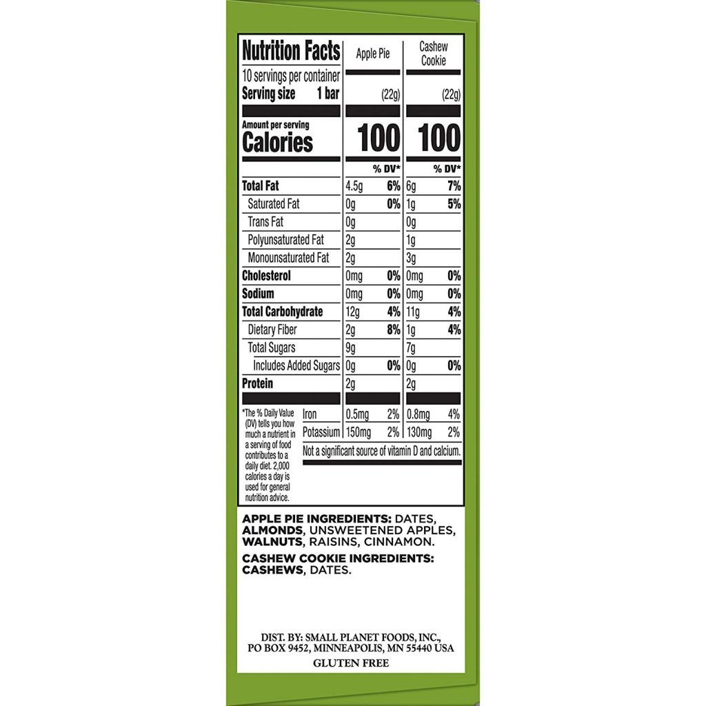 Larabar Minis Gluten Free Bar nutrition facts