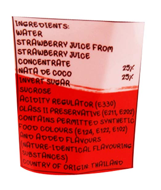 Mogu Strawberry Nata ingredients