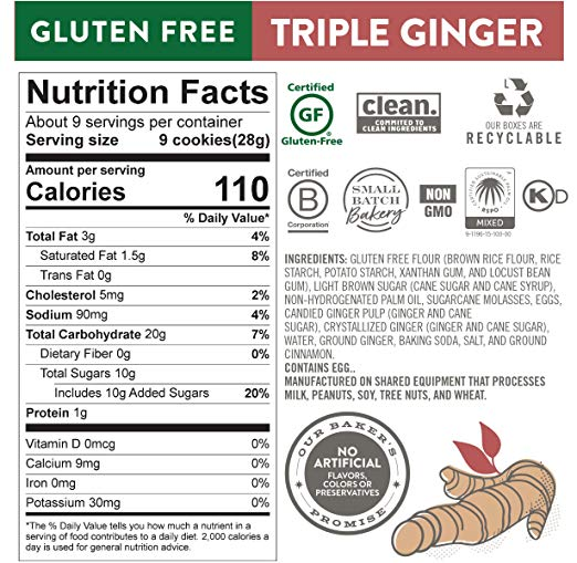 Moravian Style Triple Ginger Cookie Thins nutrition facts