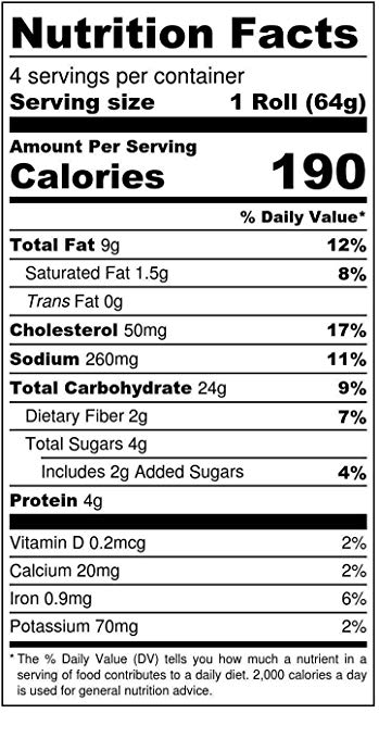 Oat Rolls nutrition facts