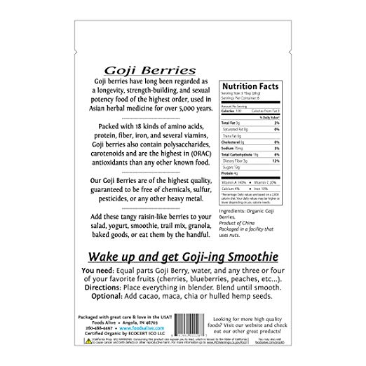 Organic Goji Berries nutrition facts