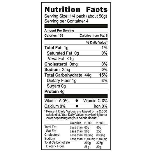 Organic Penne Corn nutrition facts