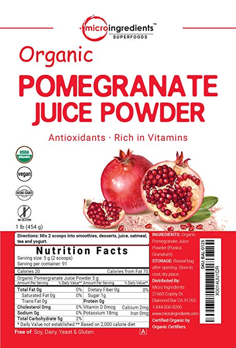 Organic Pomegranate Juice Powder nutrition facts