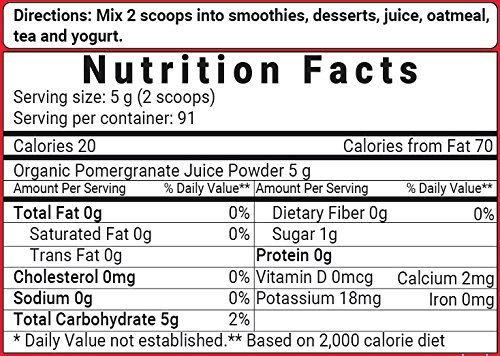 Organic Pomegranate Juice Powder nutrition