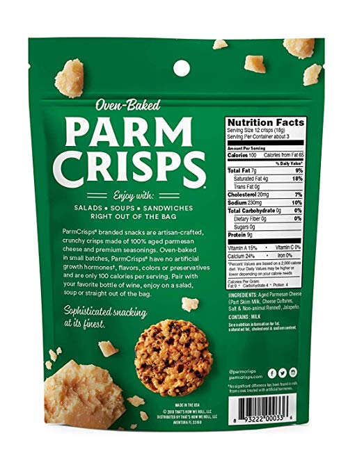 ParmCrisps nutrition facts
