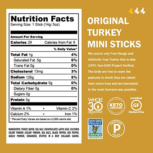 Turkey Jerky Sticks nutrition facts