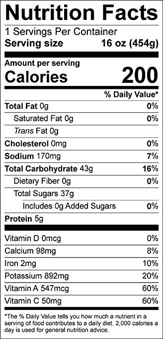 Veggie Juice nutrition facts