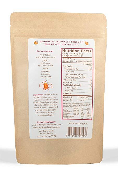 grain free granola nutrition facts