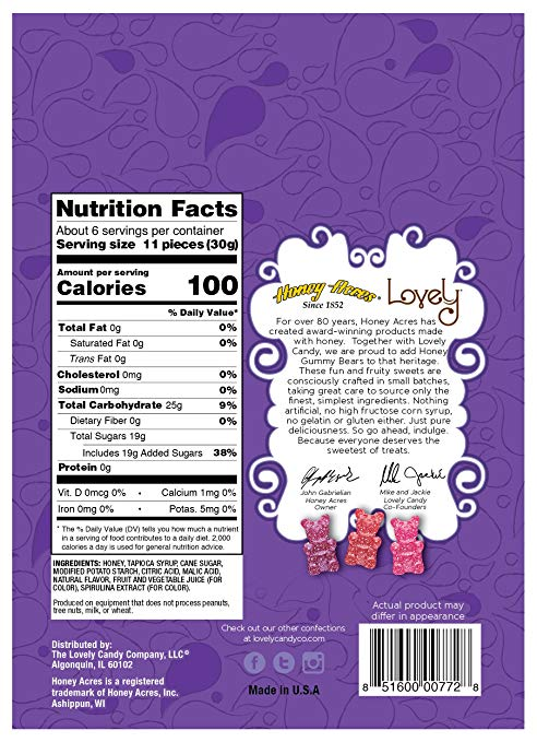 honey gummy bears nutrition