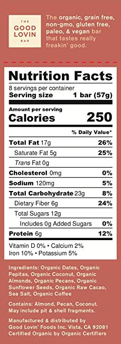 vegan bar nutrition facts