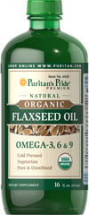 Puritan's Pride Free Shipping on any order Organic Flaxseed Oil