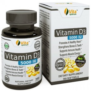 Vitamin D3 5000 IU Pills by Vita Optimum - Best Natural Organic Olive Oil